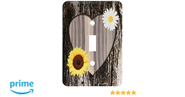 Lsp 181828 1 Wood Image Heart W Sunflower /& Daisy Light Switch Cover