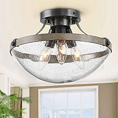 """LOG BARN Farmhouse Semi Flush Mount Ceiling Light with Seeded Glass, Close to Ceiling Light Fixture for entryway, Dining Room, Hallway, 11 1/2"""" Wide, 3 Light"""