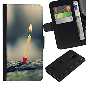 Samsung Galaxy S5 Mini / SM-G800 (Not For S5!!!) , la tarjeta de Crédito Slots PU Funda de cuero Monedero caso cubierta de piel ( Candle One Birthday First Nature Love)