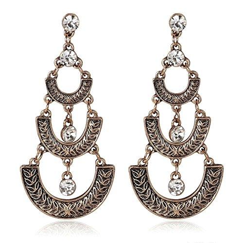 AnaZoz Gold Plated U Shaped Clear Zirconia Bohemian Chandelier Gold Dangle Drop Earrings for Women ()