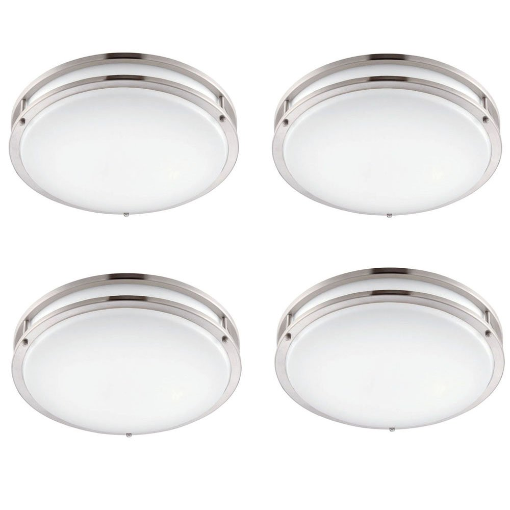 Designers Fountain EV1412L30-35D-4 12 In. Brushed Nickel/White Low-Profile Led Ceiling Light (4 Pack)