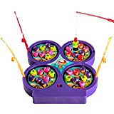 Jerryvon Fishing Game Mini Fishing Toy Electronic Magnetic Fishing Board Game Rotating with Music for Kids 3 4 5 Years Old ,Color Vary