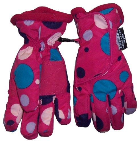 N'Ice Caps TM Girls Polka Dot Prin Taslon Velcro Wrap Ski Glove
