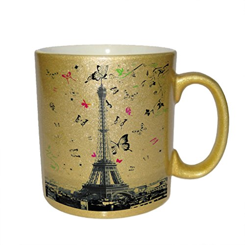 (Eiffel Tower Butterfly Swoop Metallic Gold Sparkle Coffee Mug)