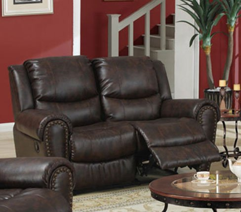 Recliner Loveseat in Brown Finish by Poundex