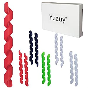 Yuauy Cable Sleeve (Total 10 Pcs) 2 PCs in each 5 Colors Wrap Spiral Bicycle Rubber Housing Protector Frame Guard for MTB Bike Shift Brake Line Pipe Anti-friction Black Red White Green Transparent