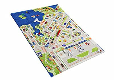 IVI Exclusive Thick 3D Kids Play Rug in a Colourful Town Design with 3 Dimensional Aiport, Car Parks and Roads, Large