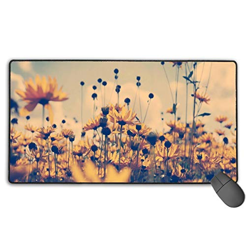 Summer Daisy Floral Flower Yellow Large Extended Gaming Mouse Pad Mat XXL Stitched Edges