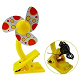 UZZO Baby Safty Clip-On Stroller Fan,USB Rechargeable Portable Cooler Mini Fan for Strollers Baby Cots Playpens,Camping (Yellow)