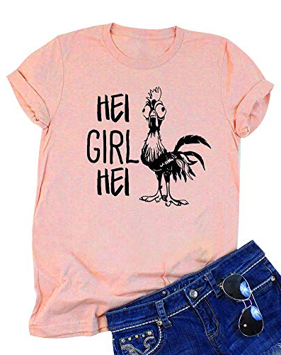 DUTUT Women Funny HEI Girl HEI Letters Print T Shirt Cartoon Chicken Graphic Short Sleeve Casual Top Blouse Size XL (Pink) -