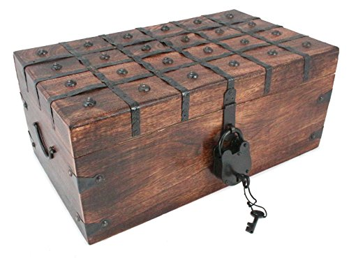 WellPackBox Wood Treasure Chest Trunk Decorative Box Antique Style Lock And Skeleton Key (17x10x8)