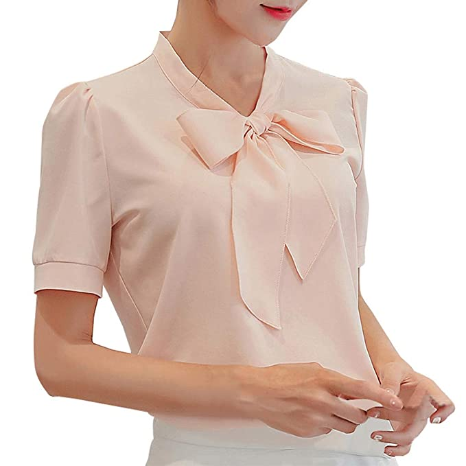 0a561b40b993 Ladies Shirts Summer Women's Work Office Short Sleeve Bow Tie Solid Chiffon  Blouse Tee Shirt Top New Look Classic Polo Tunic Tops Casual Sweatshirts  Loose ...