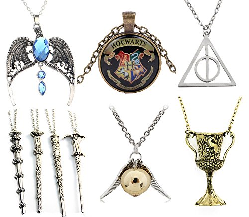 Harry Potter Snitch Costume (9 packs Cosplay Pendant Necklaces Deathly Hallows Wizard Wands Golden Snitch)