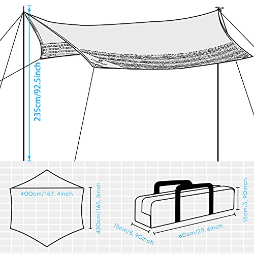 WolfWise Tarp Shelter Sunshade Canopy Waterproof Lightweight Rainfly 13.8Ft x 13Ft