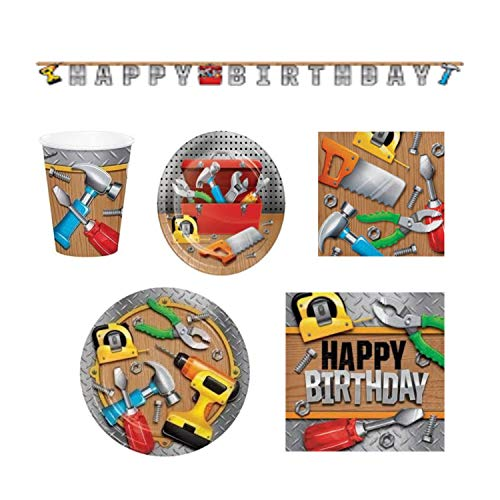 Handyman Tool Mr. Fix Birthday Supplies KIt For 8 guests- Plates, Napkins, Cups, Happy Birthday Banner