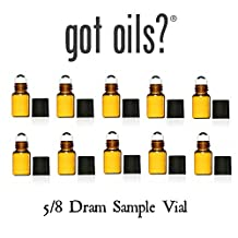 Your Oil Tools® PACK OF 10 5/8 DRAM AMBER GLASS SAMPLE ROLLER VIALS WITH STAINLESS STEEL ROLLER