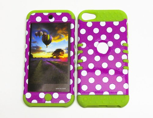 SHOCKPROOF HYBRID COVER PROTECTOR FACEPLATE HARD CASE AND GREEN SKIN WITH MINI STYLUS PEN. KOOL KASE ROCKER FOR APPLE IPOD ITOUCH 5 POLKA DOTS GR-TP1647