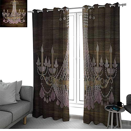 (Rustic Wooden Best Home Fashion Wide Width Thermal Insulated Blackout Curtain Planks Crystal Chandelier Fashionable Textile Modern Special Collection Decorative Item Elegant Decor Kids Curtains)