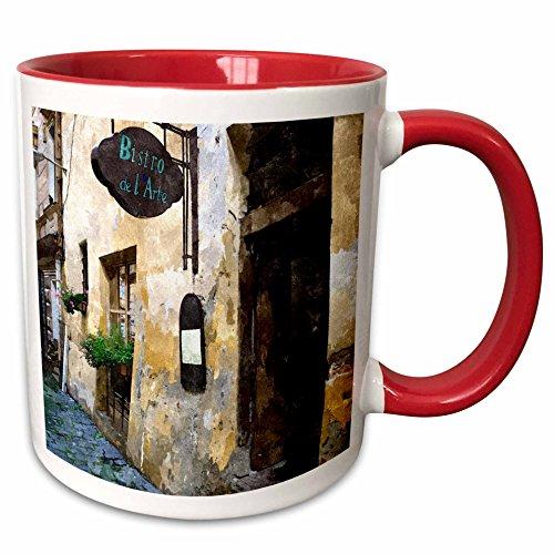 Bistro Two Tone Mug (3dRose TNMPastPerfect Exotic Places - Outside of European Bistro - 11oz Two-Tone Red Mug (mug_26022_5))
