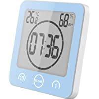 Sunsbell Shower Wall Clock Waterproof Digital Temperature Humidity Display with Suction Cup, Touch Screen Timer for Kitchen Bathroom (Blue)
