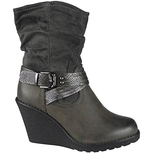 Office 3 Mid Grey Wedge 8 Shoes Boots Size Work Buckle Ankle High Ladies Heel Womens New aqwT88