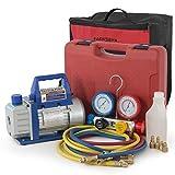 ARKSEN Manifold HVAC R404A R410A R22 4-Valve Dual Gauge w/ 3CFM Vacuum Pump, Carrying Bag Tote Kit