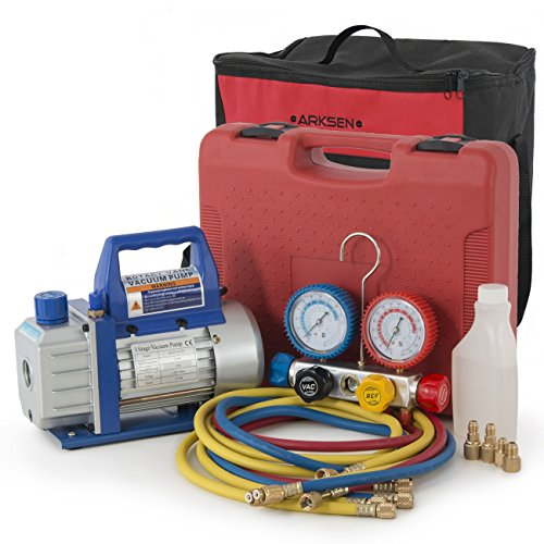ARKSEN Manifold HVAC R404A R410A R22 4-Valve Dual Gauge w/ 3CFM Vacuum Pump, Carrying Bag Tote Kit by ARKSEN