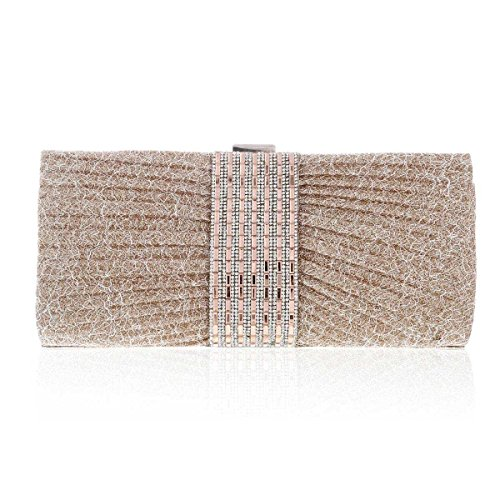 Glitter Womens wire Damara Evening Crystal Champagne Clutch Rulex in Bag 56T4q