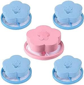 Aleola Reusable Washing Machine Lint Catcher Household Washing Machine Lint Mesh Bag Hair Filter Net Pouch Washer Hair Catcher - Filter Bag Laundry Mesh Hair Floating Ball Pouch ( 1 Pink 4 Blue )