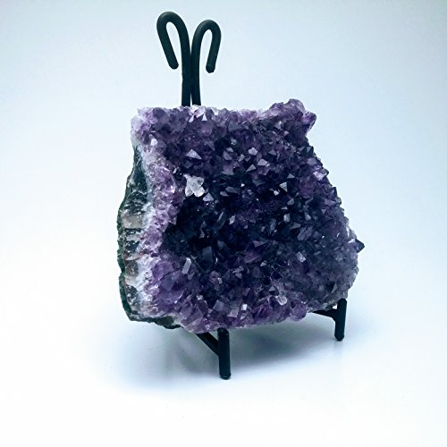 - Gypsy Palace Collection Amethyst Crystal Cathedral Druze Geode Display Specimen with Black Wrought Iron Stand Healing Gemstone Wiccan Rock (5-10oz)
