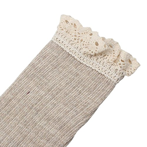 Hp95 (tm) Mujer Crochet Lace Trim Cotton Knit Footed Leg Bota Knee High Stocking Beige