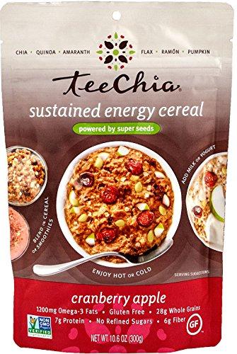 TeeChia Six Organic Super Seeds Cereal, No Sugar Added, Gluten Free, Non-GMO, Cranberry Apple, 10.6 Ounce
