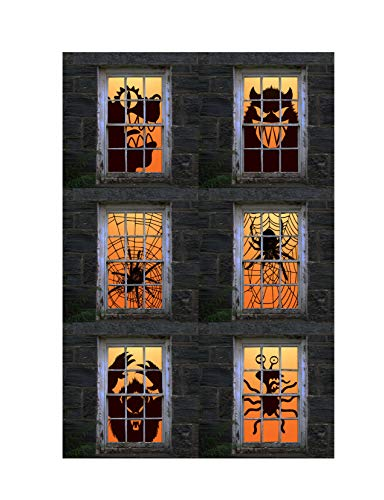 Express Novelties Online 6-Piece Giant Spider Web & Scary Monsters Halloween Backlit Plastic Window Poster Decorations