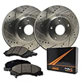 Max Brakes Rear Performance Brake Kit [ Premium Slotted Drilled Rotors + Ceramic Pads ] KT020832 |Fits: 2013 to 2017 Ram 1500