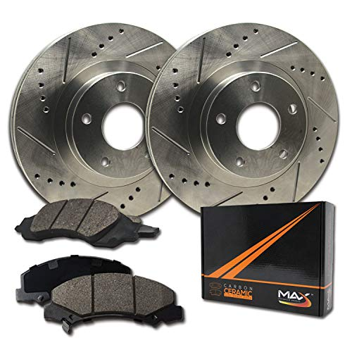 Mazda Protege Brake Drum - Max Brakes Front Performance Brake Kit [ Premium Slotted Drilled Rotors + Ceramic Pads ] KT003331 | Fits: 2002 02 Mazda 626 2.0L w/Rear Drum Brakes