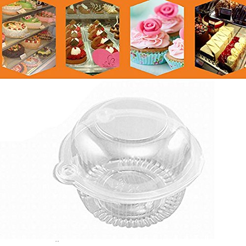 Pack Of 50 Plastic Single Clear Cupcake Pod Cake Muffin Holder Carrier By IDS