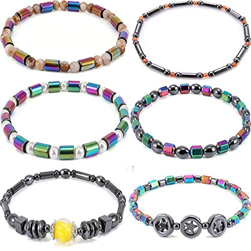 yunanwa 6 Pack Ankle Chain Bracelet Barefoot Beach Boho Beads Stone Foot Jewelry Set for Women Girls (Womens Magnetic Ankle Bracelet)