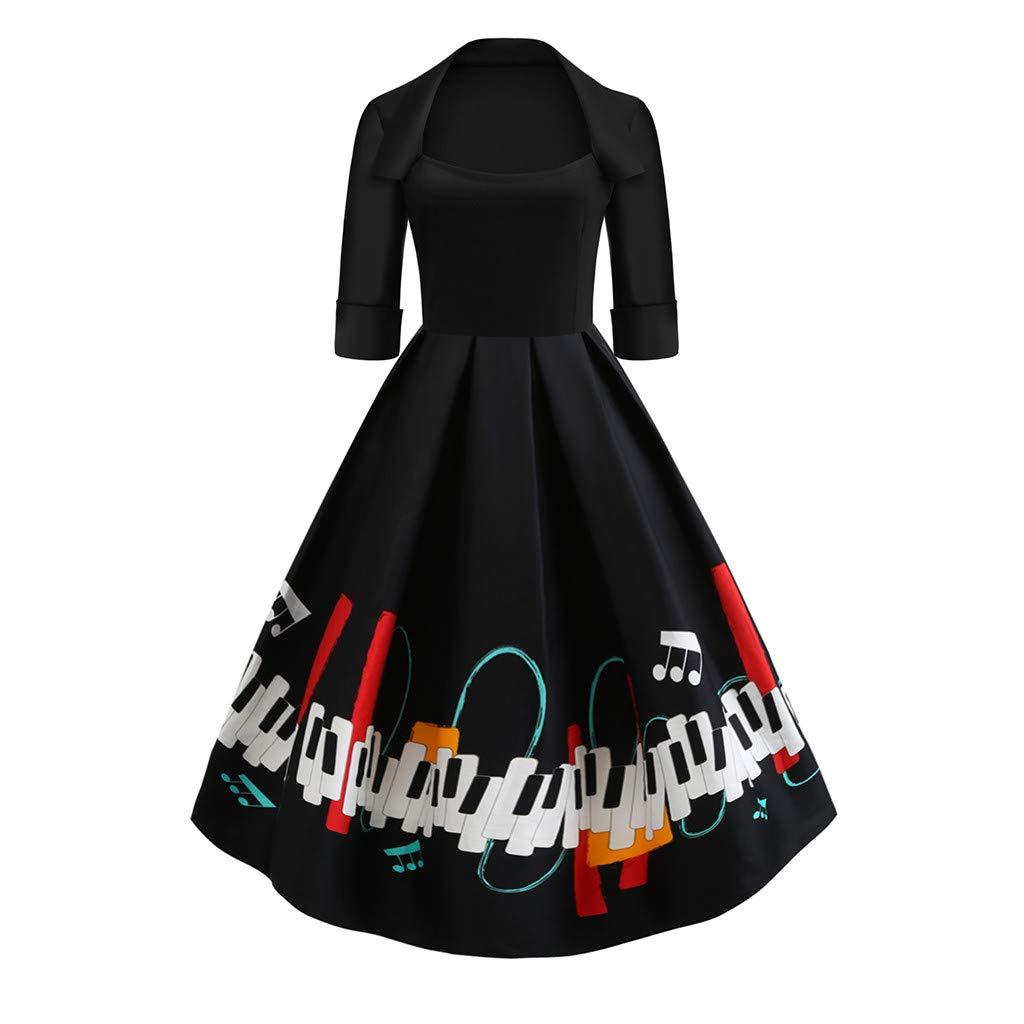 XXYsm Kleid 50er Jahre Rockabilly Damen Vintage Elegant 3/4 Ärmel Quadratischer Hals Klaviertaste drucken Abend Party Kleider Swing Kleid