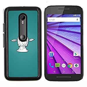 Queen Pattern - FOR Motorola Moto G (3rd Gen 2015) - lamb head portrait white farming animal - Cubierta del caso de impacto con el patr???¡¯???€????€??&sbqu