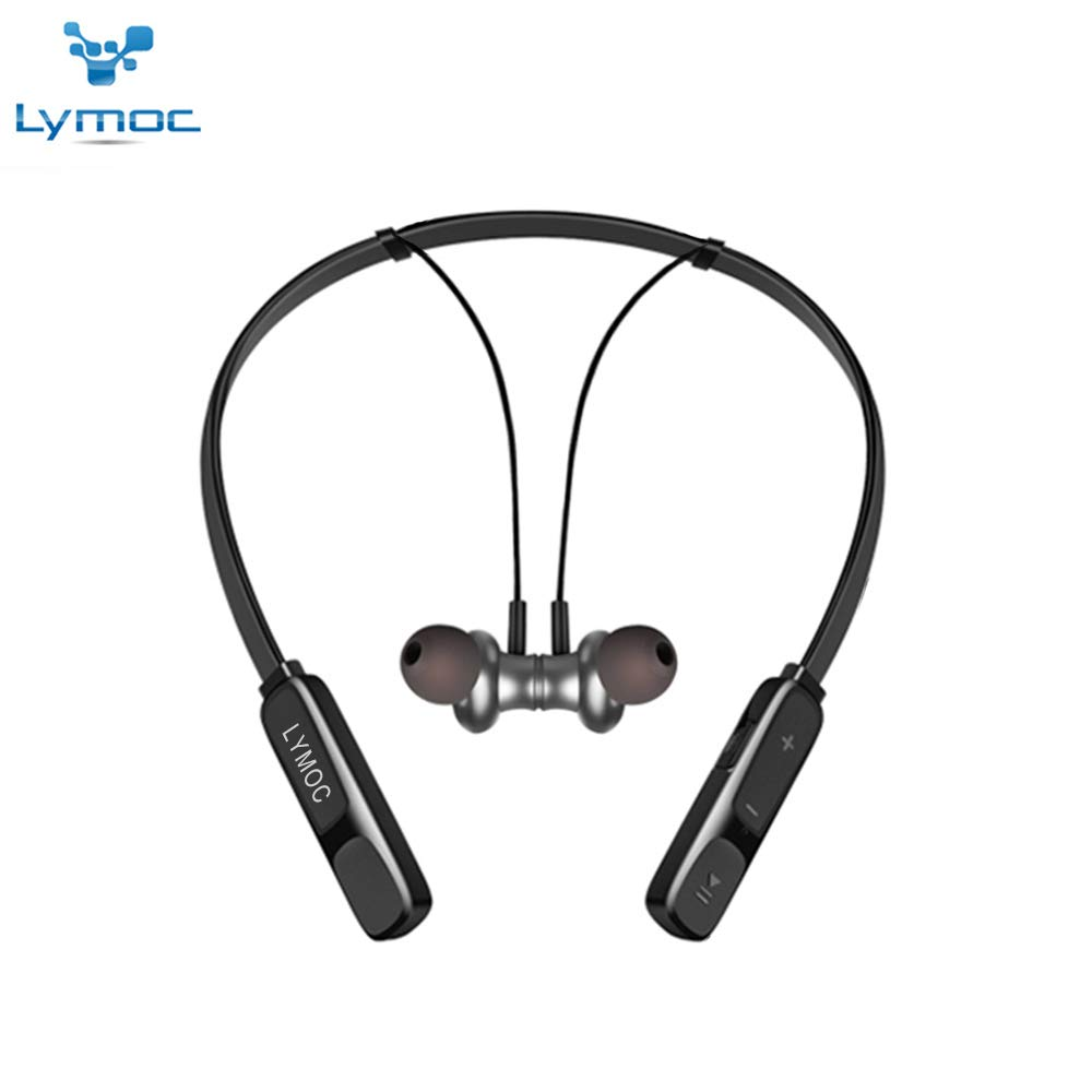 LYMOC Bluetooth Headphone,Wireless Headset Neckband 13Hr Playtime Noise Cancelling Foldable Earpieces HiFi Stereo Sports Waterproof Earphones w/Mic for iPhone Huawei Samsung (Black)