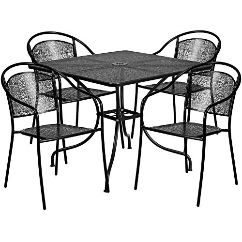 Flash Furniture 35.5'' Square Black Indoor-Outdoor Steel Patio Table Set with 4 Round Back Chairs (Set Table Patio Metal)