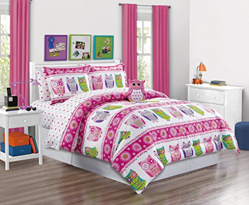 Girls Kids Bedding-Owl Design Polka Dot Tween Teen Dream Bed In A Bag. (Double) FULL SIZE 8 - Piece Comforter set, Sheet Set and Plush Toy Included-Love, Hearts-Hot Pink, Purple, -