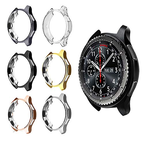 (for Gear S3 Frontier SM-R760 Case,Soft TPU Fashion Metal Color Frame Shock Resistant Proof Cover Protector Shell for Samsung Gear S3 Frontier SM-R760, Galaxy Watch 46mm SM-R800 Smartwatch (6PCS))