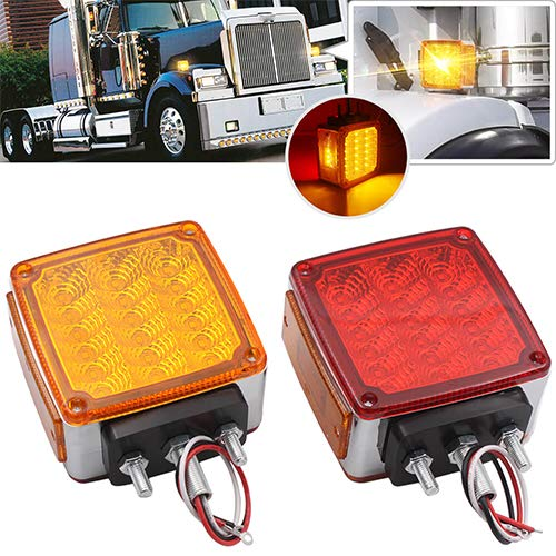 2x Truck Trailer Pedestal Stop Turn Tail Light - Amber/Red 39 Square LED Fender Stud Mount Double Face Light for Peterbilt Freightliner Kenworth Mack Western Star (39 LED Double Face Light)