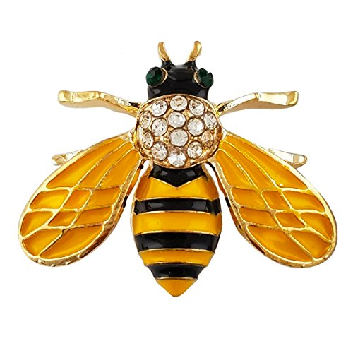 Yellow Enamel Small Cute Brooch Pin Gold Tone Clear Crystal ()