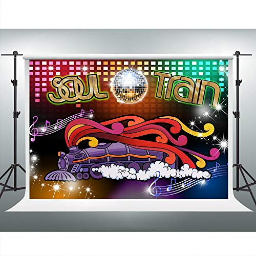 70 Theme Party (70's Soul Train Backdrop 70's and 80's Disco Dancing Party Neon Glow Background 7x5ft Photo Booth Studio Props)