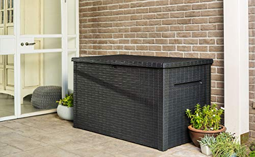 Deck Boxes Keter Java XXL 230 Gallon Resin Rattan Look Large Outdoor Storage Deck Box for Patio Furniture Cushions, Pool Toys, and… outdoor deck boxes