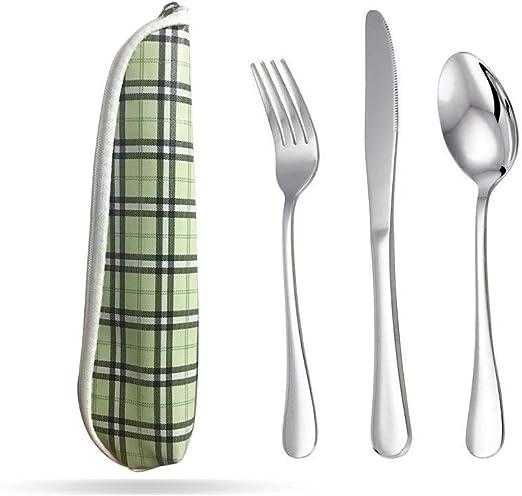 tenedor y cuchara reutilizables de 12 piezas para acampar cuchillo COM-FOUR/® Juego de cubiertos