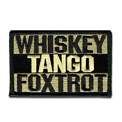 Bastion Tactical Combat Badge Military Hook and Loop Badge Embroidered Morale Patch - Whiskey Tango Foxtrot (Tan)