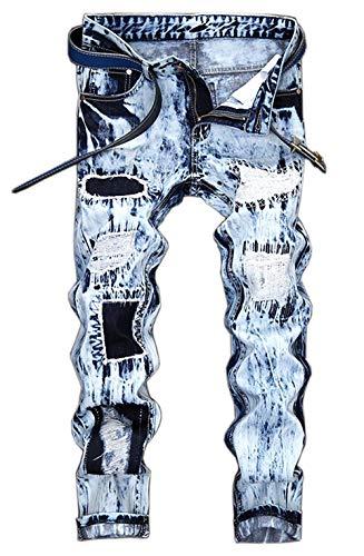 Fori Classici Motociclisti Tutto Hig Cher Uomini Pantaloni Semplice Jeans Effetto Mens Invecchiato Strappati 167 Degli Denim Stile Alla hellblau Vita Moda ErqrTz